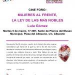 """Cine Foro """"Mujeres al frente"""" 5 de marzo Museo de Albacete"""