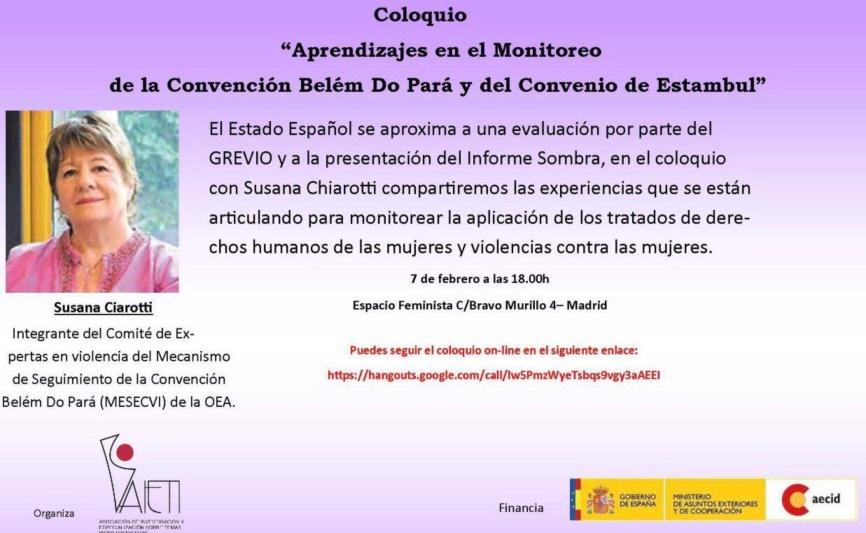 """Coloquio """"Aprendizajes en el Monitoreo de la Convención Belem Do Para y del Convenio de Estambul"""""""