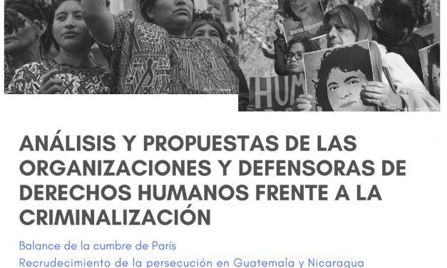 Seminario: «Análisis y propuestas de las organizaciones y defensoras de derechos humanos frente a la criminalización
