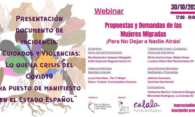 CUIDADOS Y VIOLENCIAS: LO QUE LA CRISIS DEL COVID-19 HA PUESTO DE MANIFIESTO EN EL ESTADO ESPAÑOL. VIERNES 30 DE OCTUBRE 17.00H.