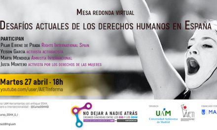 27 DE ABRIL A LAS 18H: Desafíos actuales de los derechos humanos en España